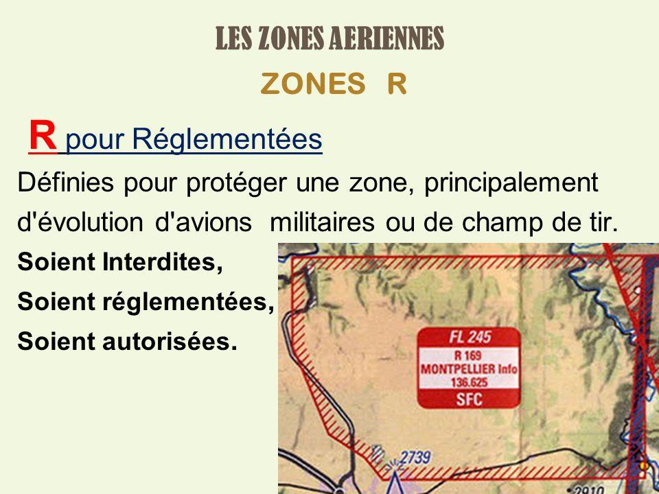 LES ZONES AERIENNES ZONES R R pour Réglementées Définies pour protéger une zone, principalement d évolution d avions militaires ou de champ de tir.