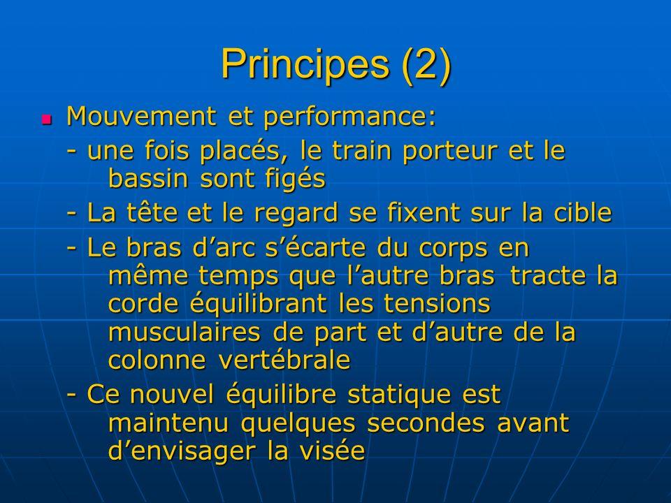 Principes (2) Mouvement et performance: Mouvement et performance: - une fois placés, le train porteur et le bassin sont figés - La tête et le regard s