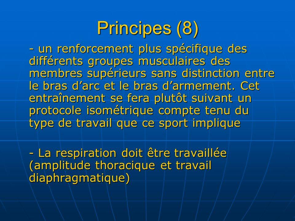 Principes (8) - un renforcement plus spécifique des différents groupes musculaires des membres supérieurs sans distinction entre le bras darc et le br