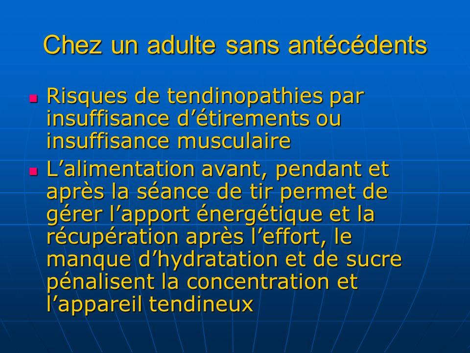 Chez un adulte sans antécédents Risques de tendinopathies par insuffisance détirements ou insuffisance musculaire Risques de tendinopathies par insuff