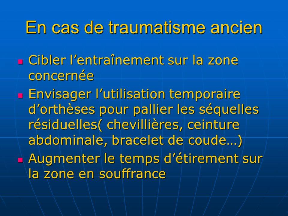 En cas de traumatisme ancien Cibler lentraînement sur la zone concernée Cibler lentraînement sur la zone concernée Envisager lutilisation temporaire d