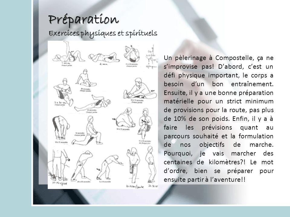 Préparation Exercices physiques et spirituels Un pèlerinage à Compostelle, ça ne simprovise pas! Dabord, cest un défi physique important, le corps a b
