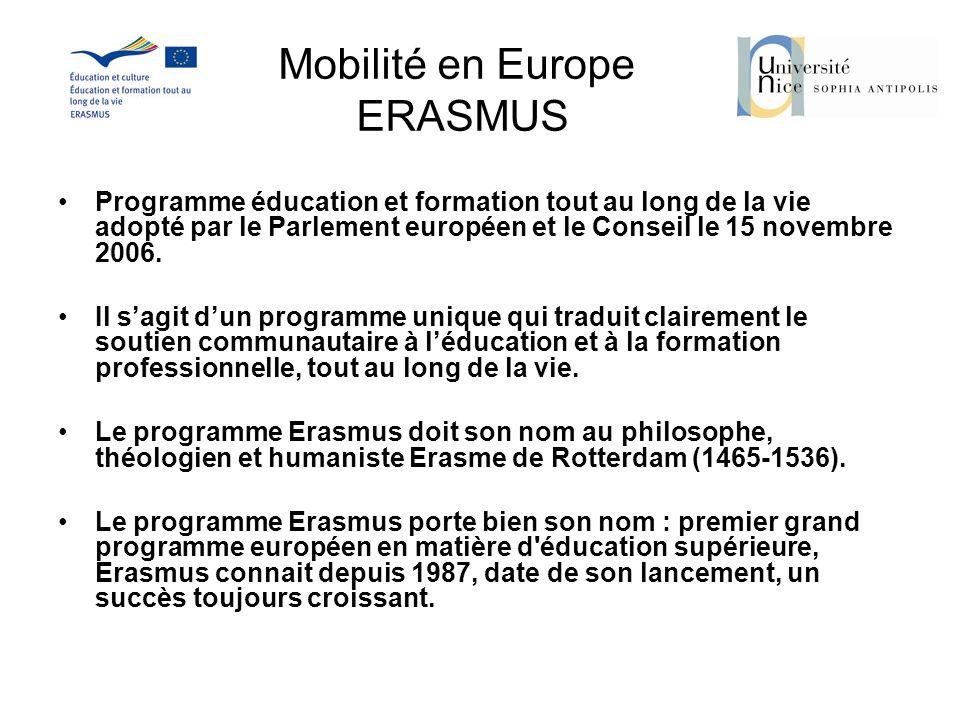 Mobilité en Europe ERASMUS Programme éducation et formation tout au long de la vie adopté par le Parlement européen et le Conseil le 15 novembre 2006.