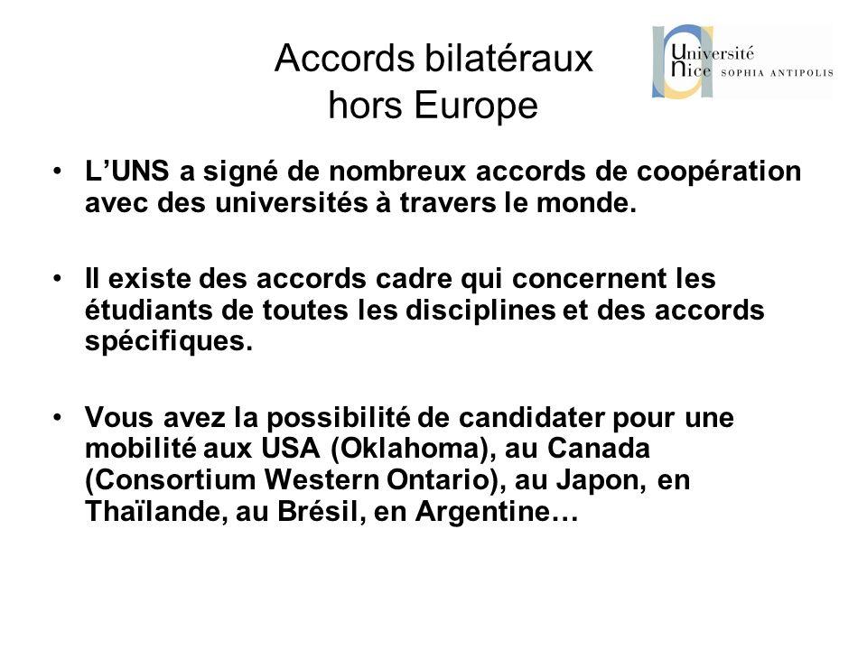 Accords bilatéraux hors Europe LUNS a signé de nombreux accords de coopération avec des universités à travers le monde. Il existe des accords cadre qu