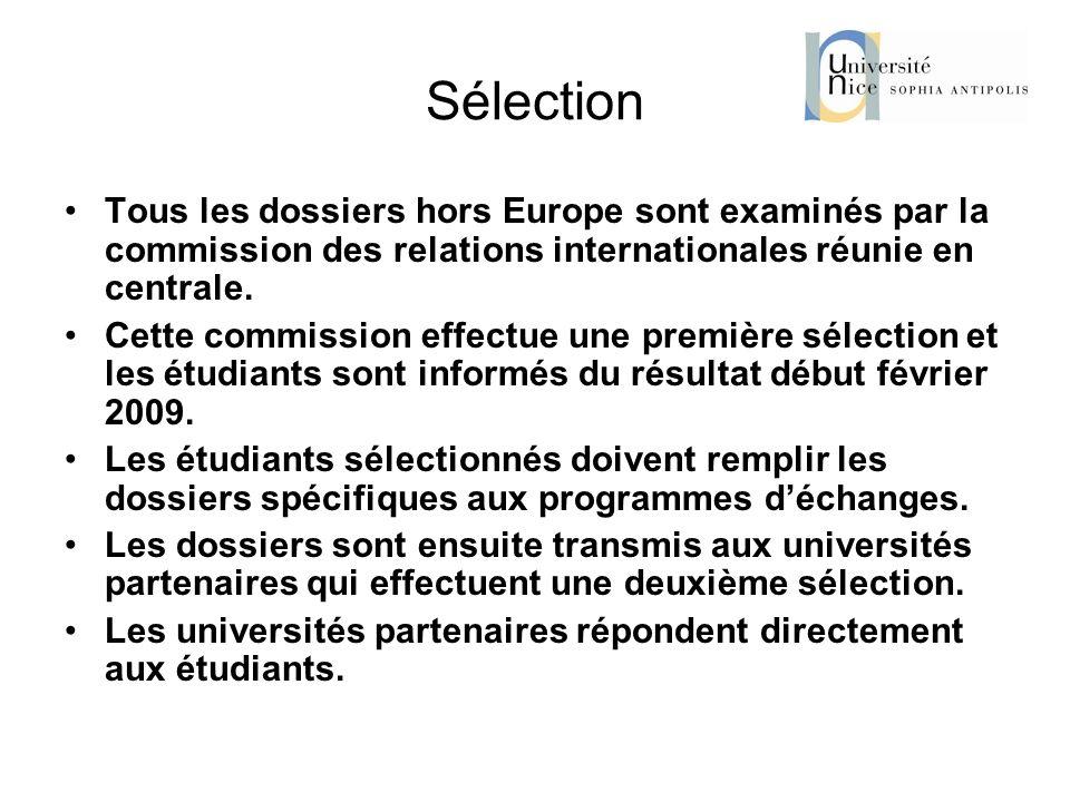 Sélection Tous les dossiers hors Europe sont examinés par la commission des relations internationales réunie en centrale. Cette commission effectue un