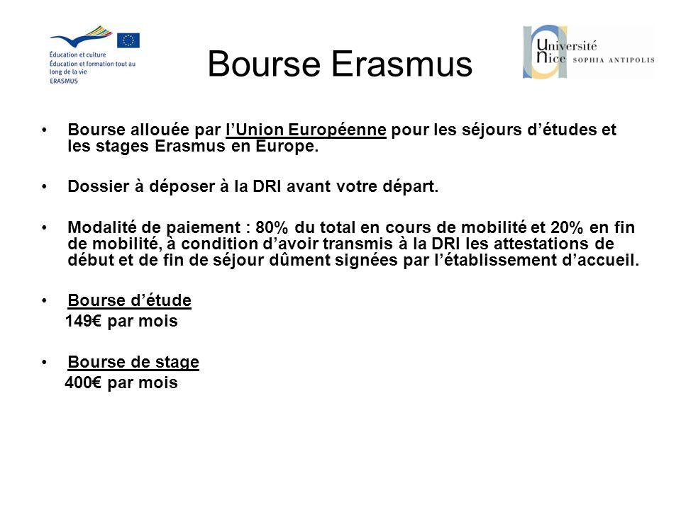 Bourse Erasmus Bourse allouée par lUnion Européenne pour les séjours détudes et les stages Erasmus en Europe. Dossier à déposer à la DRI avant votre d