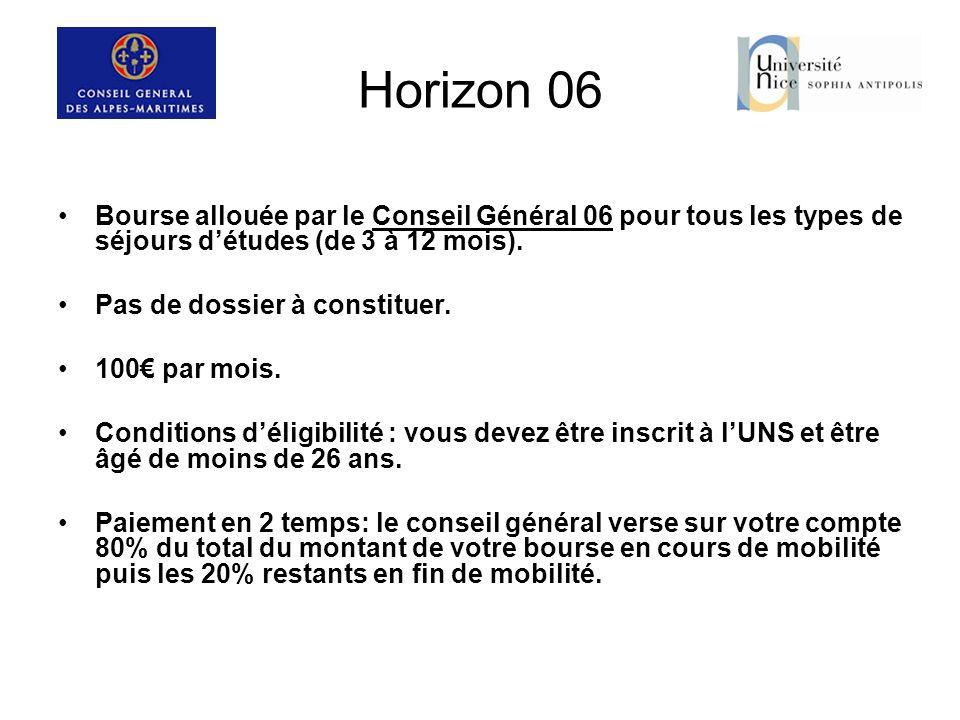 Horizon 06 Bourse allouée par le Conseil Général 06 pour tous les types de séjours détudes (de 3 à 12 mois). Pas de dossier à constituer. 100 par mois