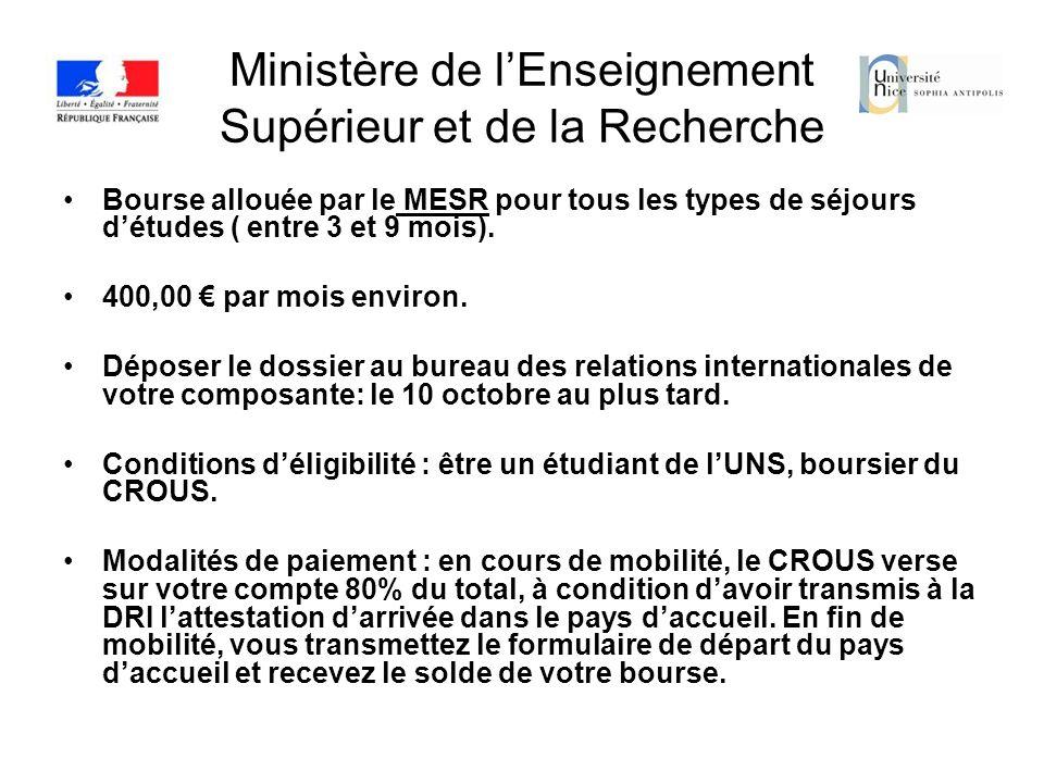 Ministère de lEnseignement Supérieur et de la Recherche Bourse allouée par le MESR pour tous les types de séjours détudes ( entre 3 et 9 mois). 400,00