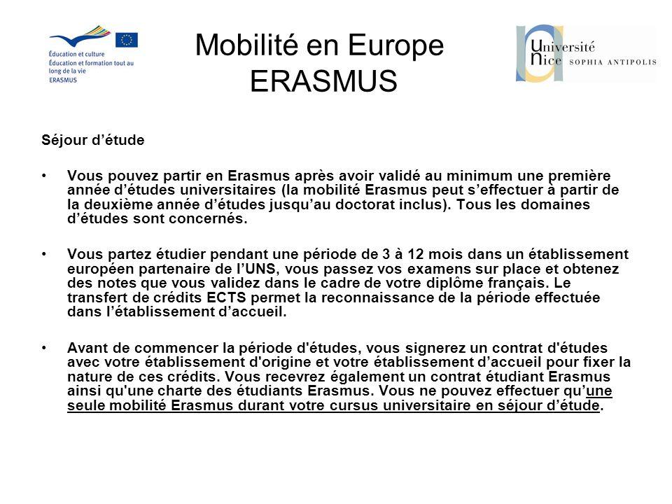Mobilité en Europe ERASMUS Séjour détude Vous pouvez partir en Erasmus après avoir validé au minimum une première année détudes universitaires (la mob
