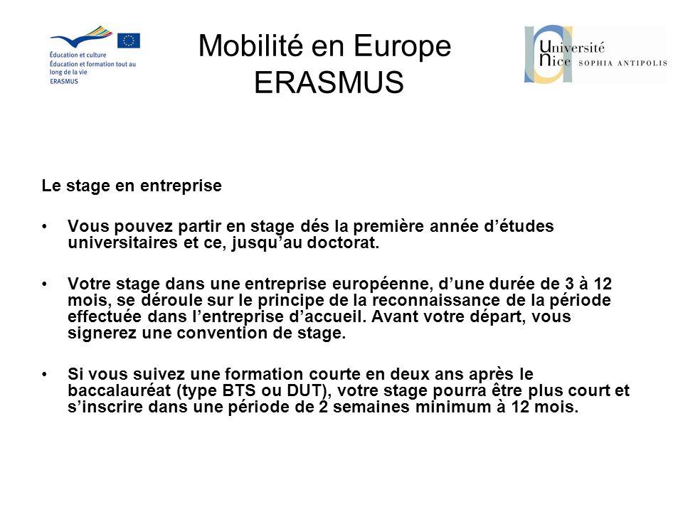 Mobilité en Europe ERASMUS Le stage en entreprise Vous pouvez partir en stage dés la première année détudes universitaires et ce, jusquau doctorat. Vo