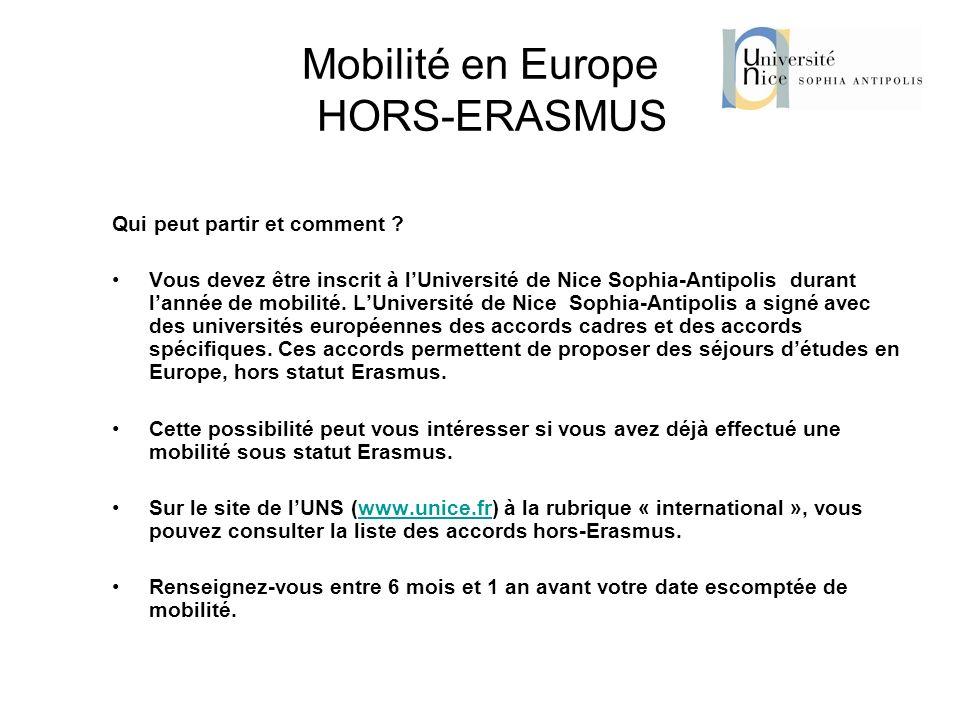 Mobilité en Europe HORS-ERASMUS Qui peut partir et comment ? Vous devez être inscrit à lUniversité de Nice Sophia-Antipolis durant lannée de mobilité.