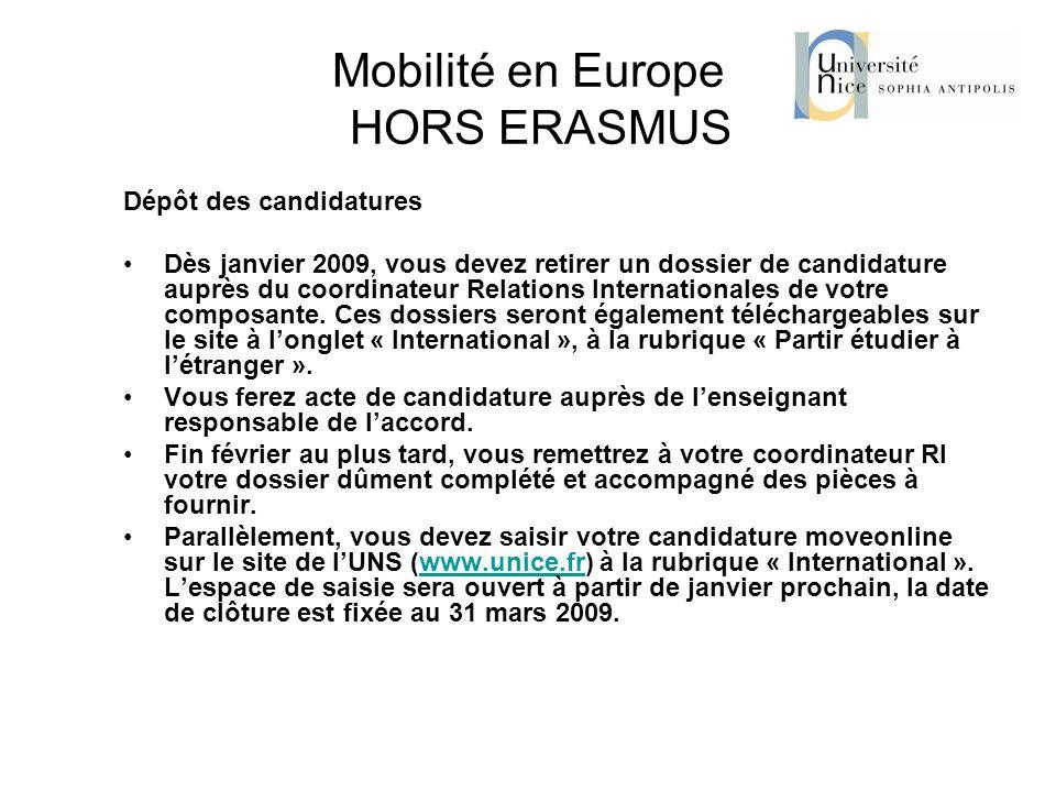 Mobilité en Europe HORS ERASMUS Dépôt des candidatures Dès janvier 2009, vous devez retirer un dossier de candidature auprès du coordinateur Relations
