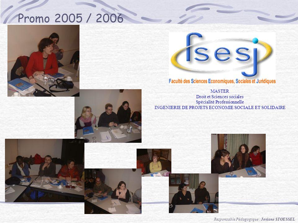 Promo 2005 / 2006 MASTER Droit et Sciences sociales Spécialité Professionnelle INGENIERIE DE PROJETS ECONOMIE SOCIALE ET SOLIDAIRE Responsable Pédagogique : Josiane STOESSEL