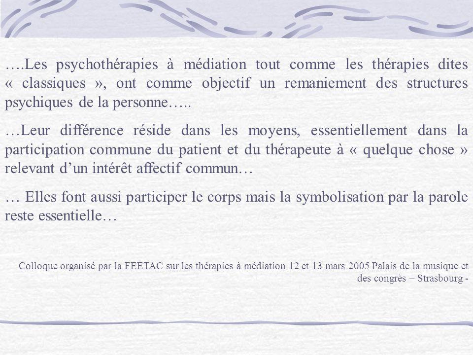 ….Les psychothérapies à médiation tout comme les thérapies dites « classiques », ont comme objectif un remaniement des structures psychiques de la personne…..