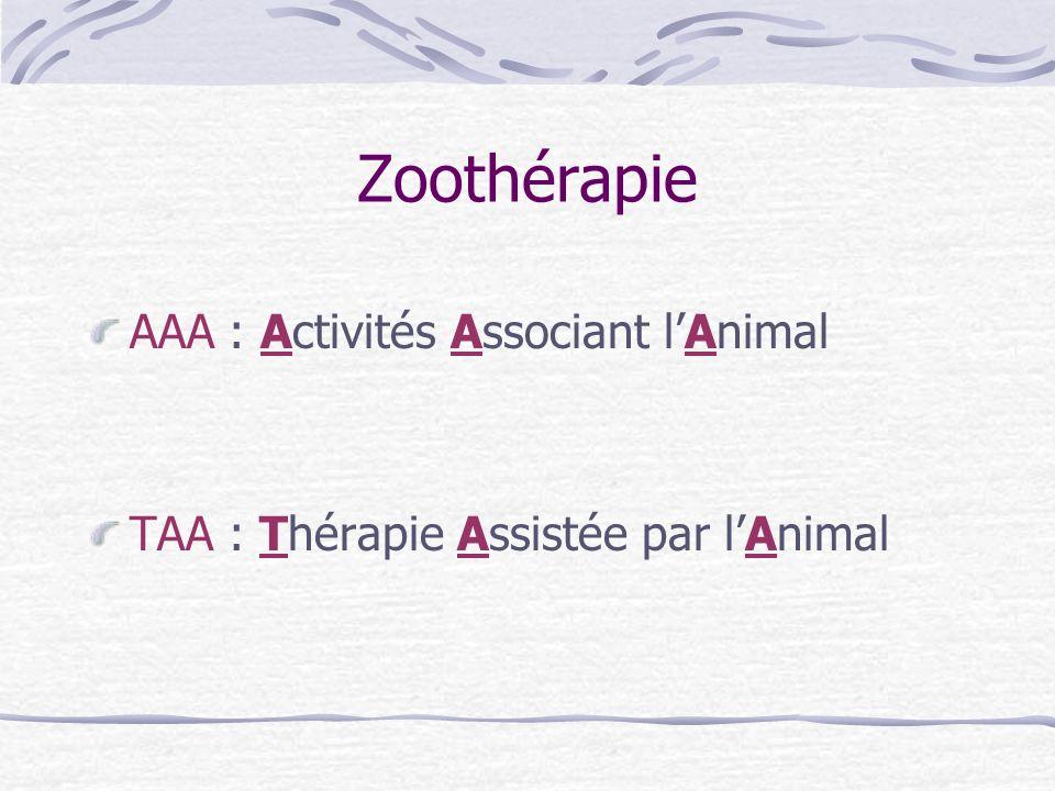 AAA : Activités Associant lAnimal TAA : Thérapie Assistée par lAnimal Zoothérapie
