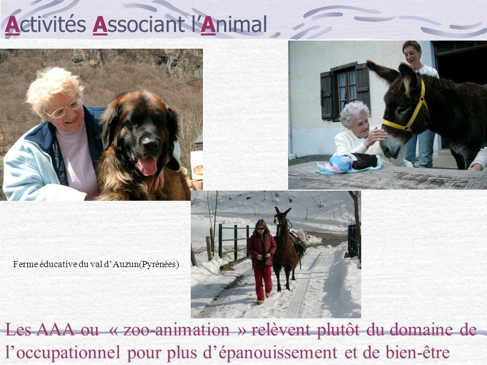 Activités Associant lAnimal Les AAA ou « zoo-animation » relèvent plutôt du domaine de loccupationnel pour plus dépanouissement et de bien-être Ferme