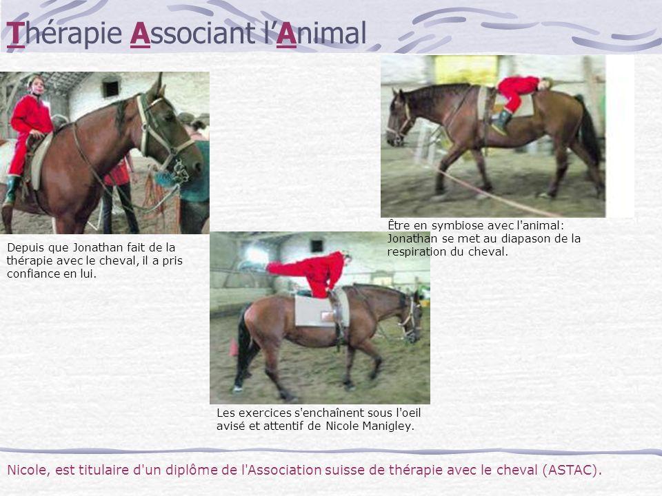 Depuis que Jonathan fait de la thérapie avec le cheval, il a pris confiance en lui. Les exercices s'enchaînent sous l'oeil avisé et attentif de Nicole