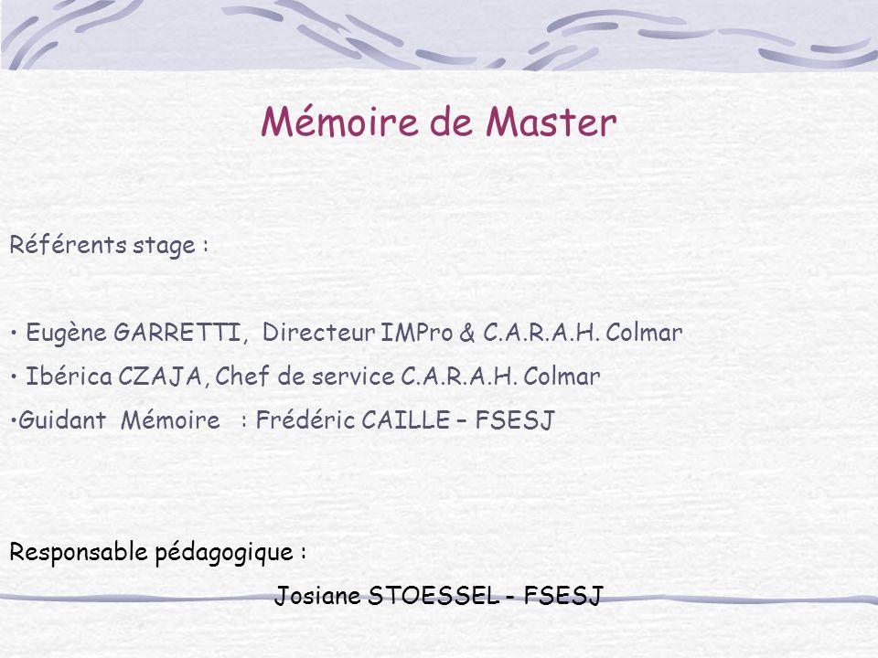Mémoire de Master Référents stage : Eugène GARRETTI, Directeur IMPro & C.A.R.A.H. Colmar Ibérica CZAJA, Chef de service C.A.R.A.H. Colmar Guidant Mémo
