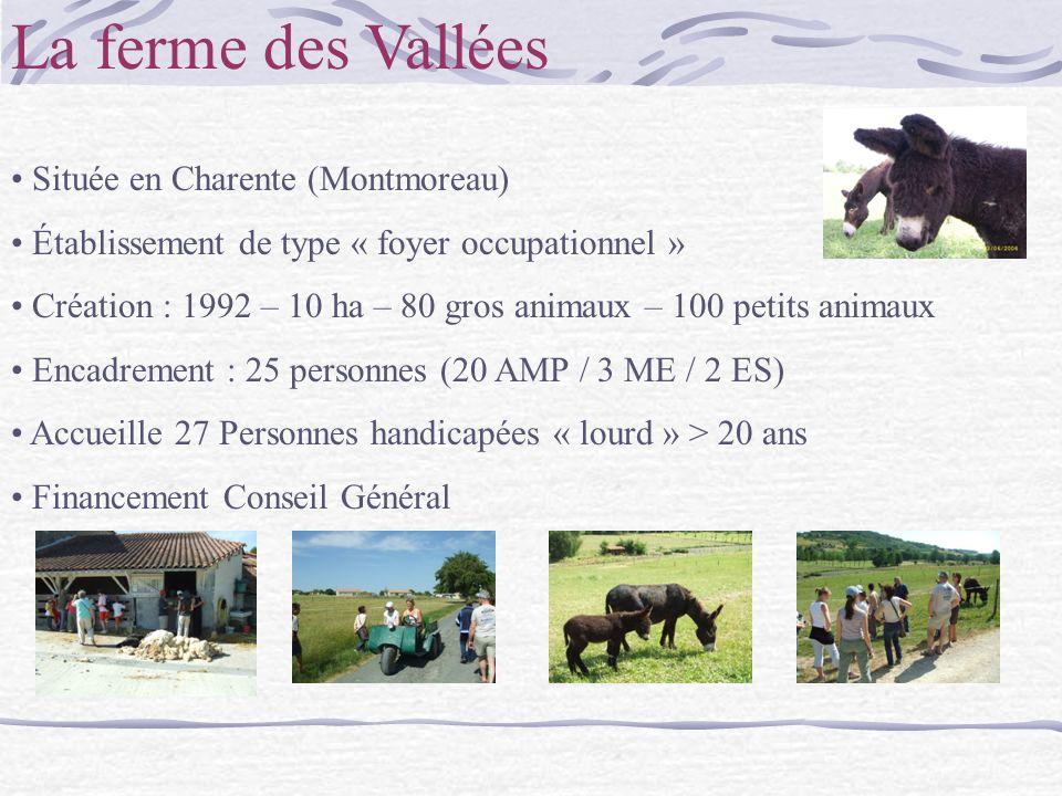 La ferme des Vallées Située en Charente (Montmoreau) Établissement de type « foyer occupationnel » Création : 1992 – 10 ha – 80 gros animaux – 100 petits animaux Encadrement : 25 personnes (20 AMP / 3 ME / 2 ES) Accueille 27 Personnes handicapées « lourd » > 20 ans Financement Conseil Général