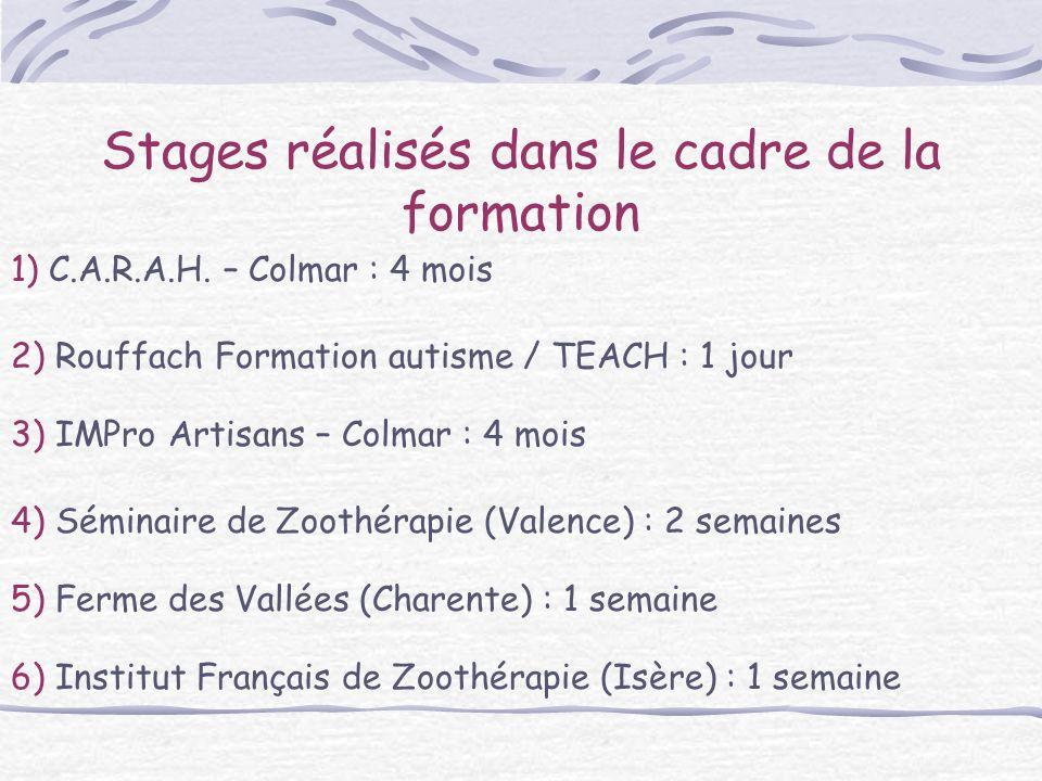 Stages réalisés dans le cadre de la formation 2) Rouffach Formation autisme / TEACH : 1 jour 1) C.A.R.A.H. – Colmar : 4 mois 5) Ferme des Vallées (Cha