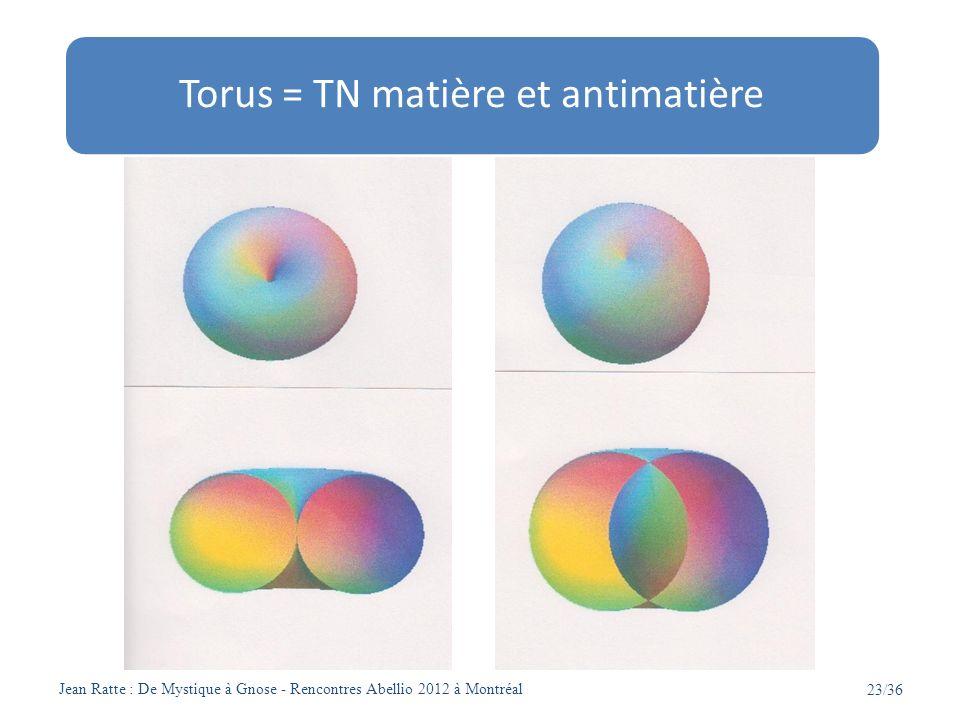 Jean Ratte : De Mystique à Gnose - Rencontres Abellio 2012 à Montréal 23/36 Torus = TN matière et antimatière