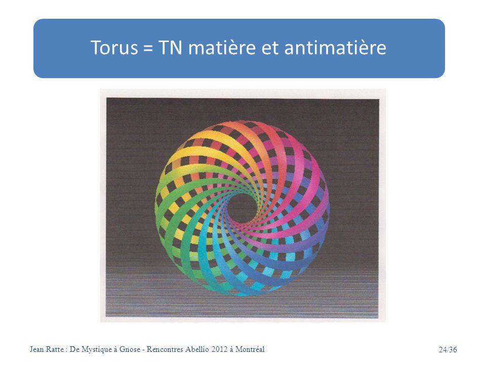 Jean Ratte : De Mystique à Gnose - Rencontres Abellio 2012 à Montréal 24/36 Torus = TN matière et antimatière
