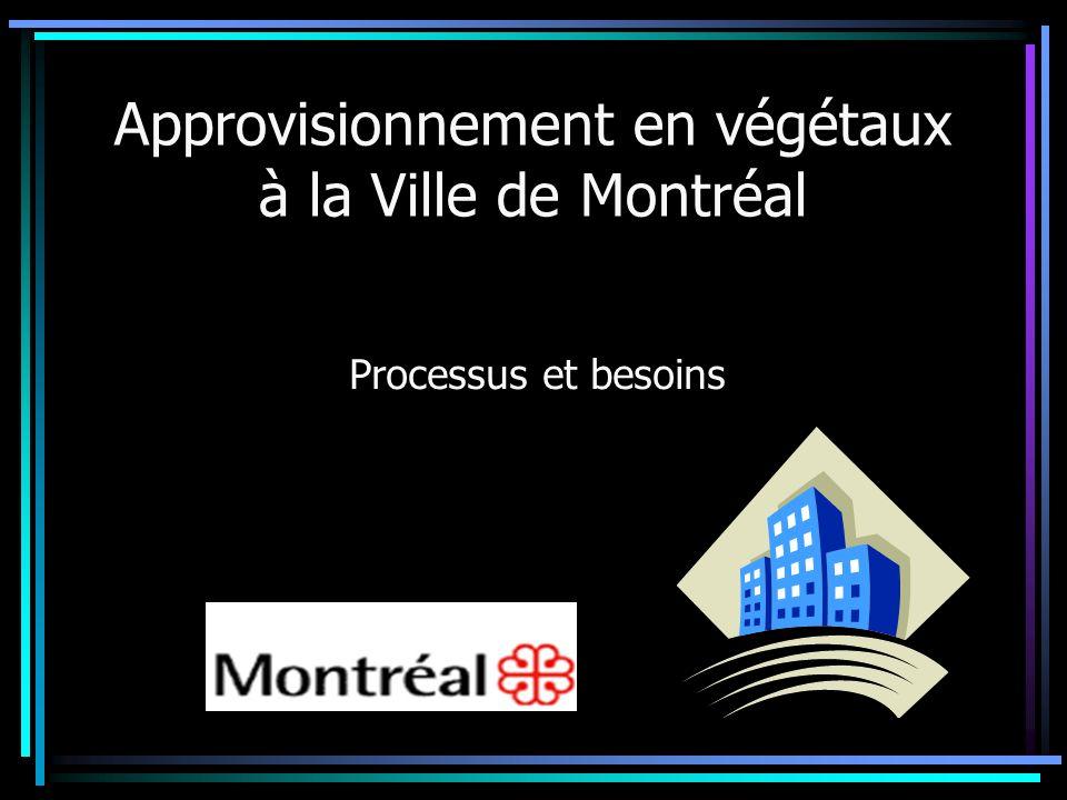 Approvisionnement en végétaux à la Ville de Montréal Processus et besoins