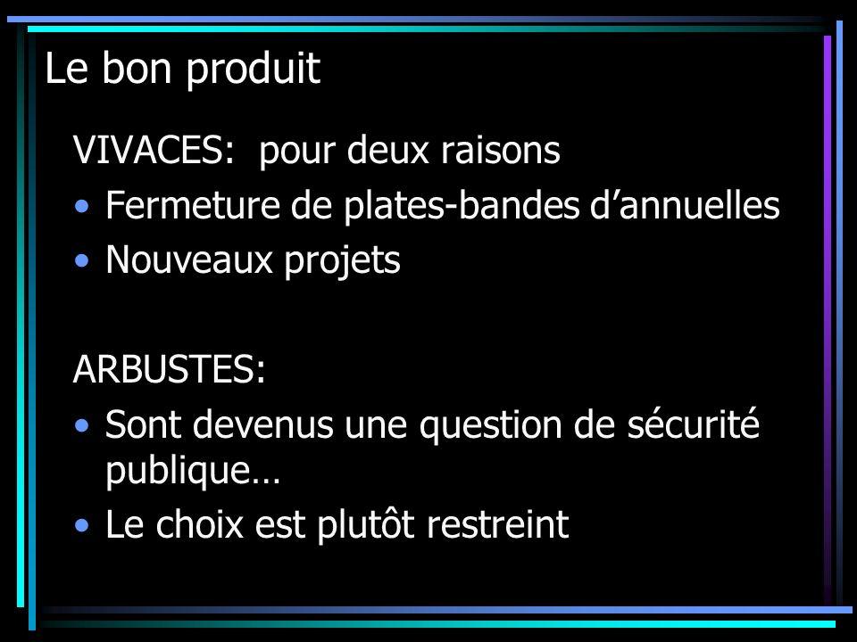Le bon produit VIVACES: pour deux raisons Fermeture de plates-bandes dannuelles Nouveaux projets ARBUSTES: Sont devenus une question de sécurité publi