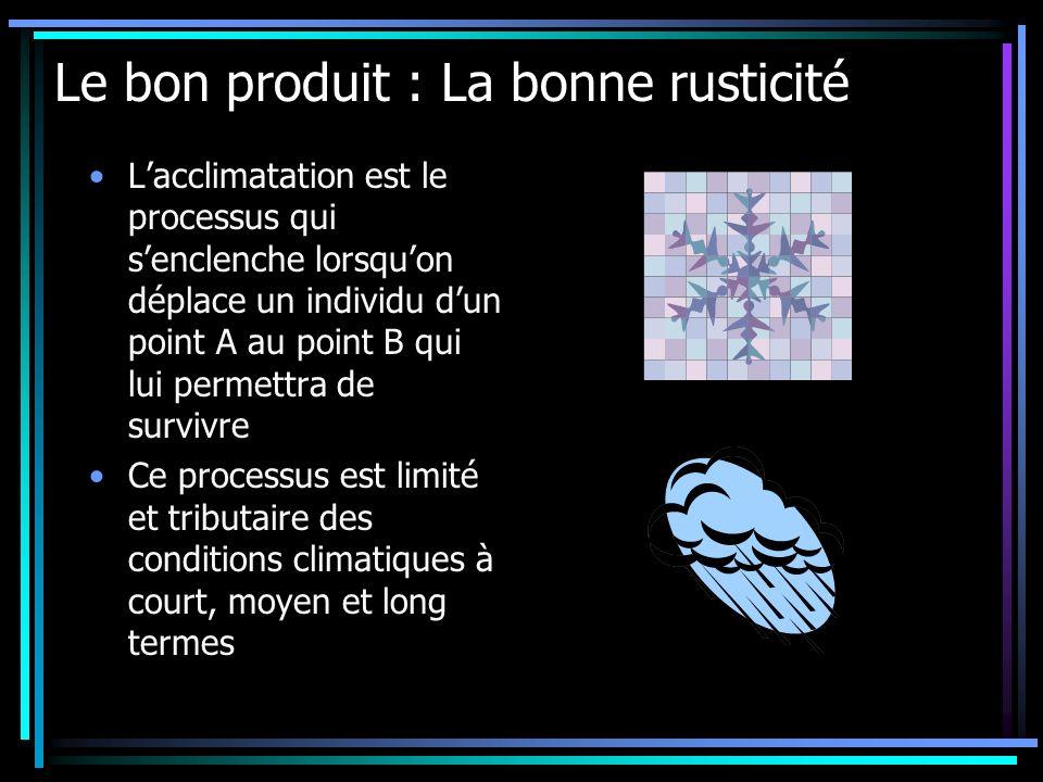 Le bon produit : La bonne rusticité Lacclimatation est le processus qui senclenche lorsquon déplace un individu dun point A au point B qui lui permett