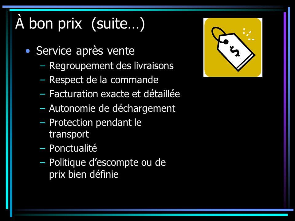 À bon prix (suite…) Service après vente –Regroupement des livraisons –Respect de la commande –Facturation exacte et détaillée –Autonomie de déchargeme