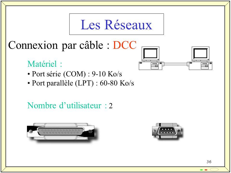 36 Les Réseaux Connexion par câble : DCC Matériel : Port série (COM) : 9-10 Ko/s Port parallèle (LPT) : 60-80 Ko/s Nombre dutilisateur : 2