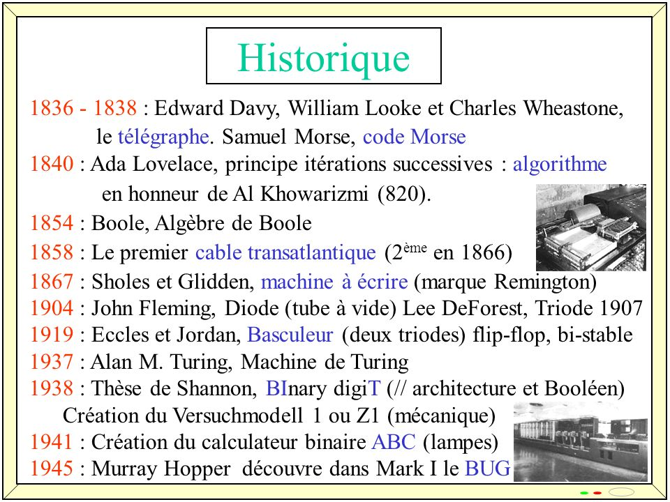7 Historique 1836 - 1838 : Edward Davy, William Looke et Charles Wheastone, le télégraphe.
