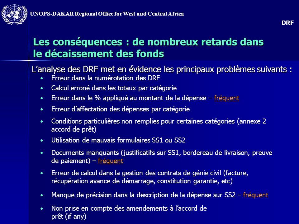UNOPS-DAKAR Regional Office for West and Central Africa 4) Le problème : les DRF envoyées à lIC ne sont pas correctement présentées
