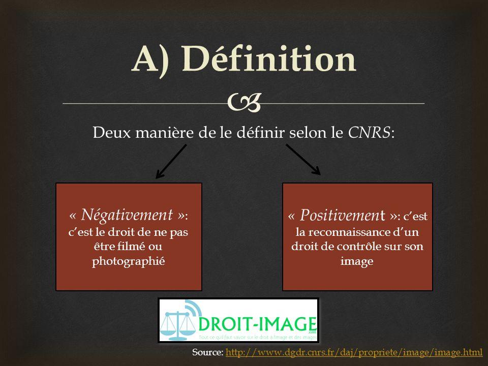 Deux manière de le définir selon le CNRS : A) Définition « Négativement » : cest le droit de ne pas être filmé ou photographié « Positivemen t » : ces