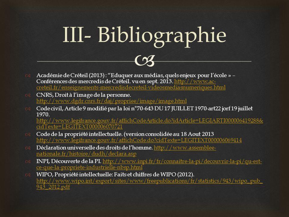 Académie de Créteil (2013) : Eduquer aux médias, quels enjeux pour lécole » – Conférences des mercredis de Créteil. vu en sept. 2013. http://www,ac- c