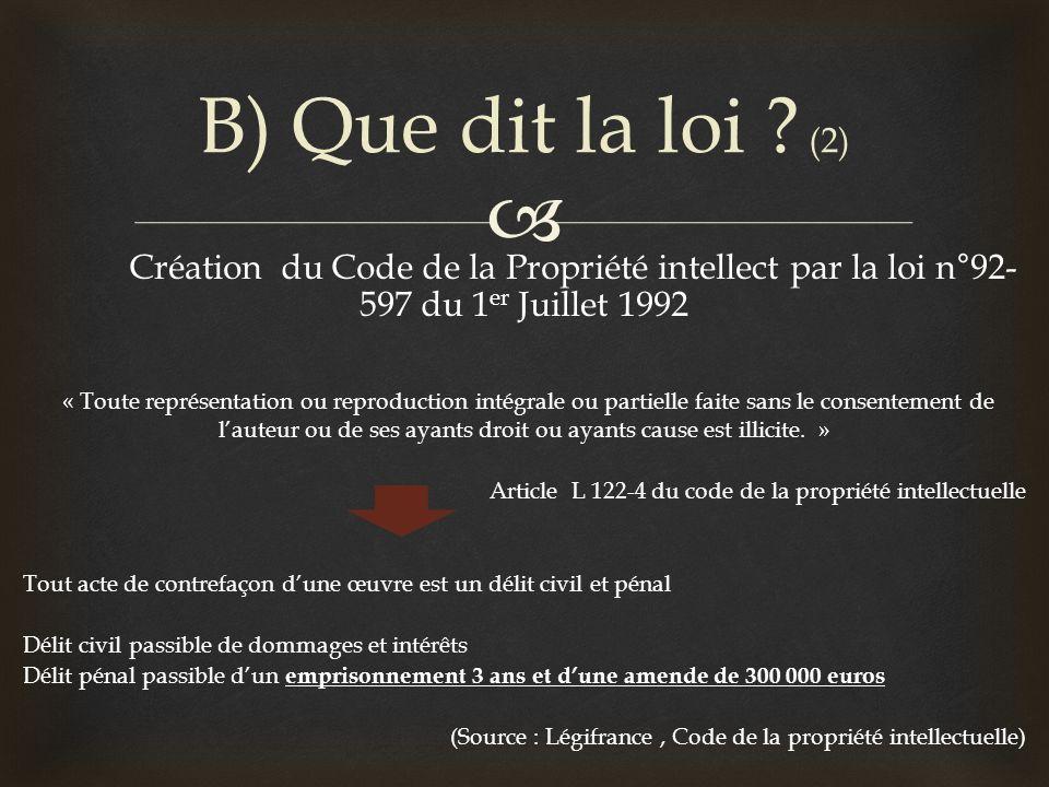Création du Code de la Propriété intellect par la loi n°92- 597 du 1 er Juillet 1992 « Toute représentation ou reproduction intégrale ou partielle fai