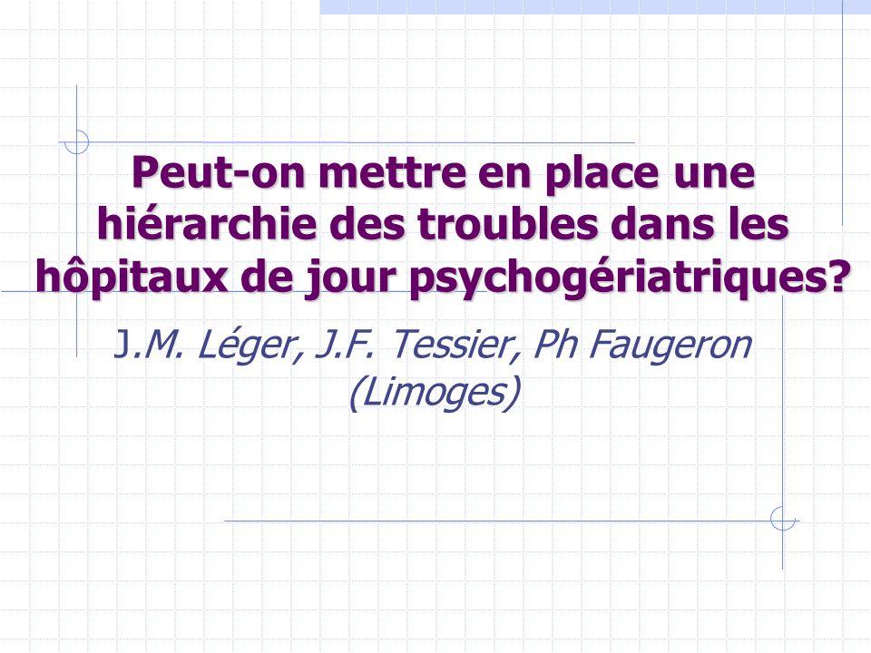 Peut-on mettre en place une hiérarchie des troubles dans les hôpitaux de jour psychogériatriques? J.M. Léger, J.F. Tessier, Ph Faugeron (Limoges)
