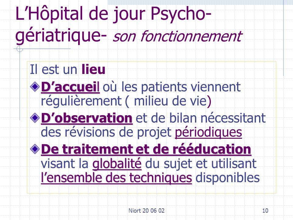 Niort 20 06 0210 LHôpital de jour Psycho- gériatrique- son fonctionnement Il est un lieu Daccueil Daccueil où les patients viennent régulièrement ( mi