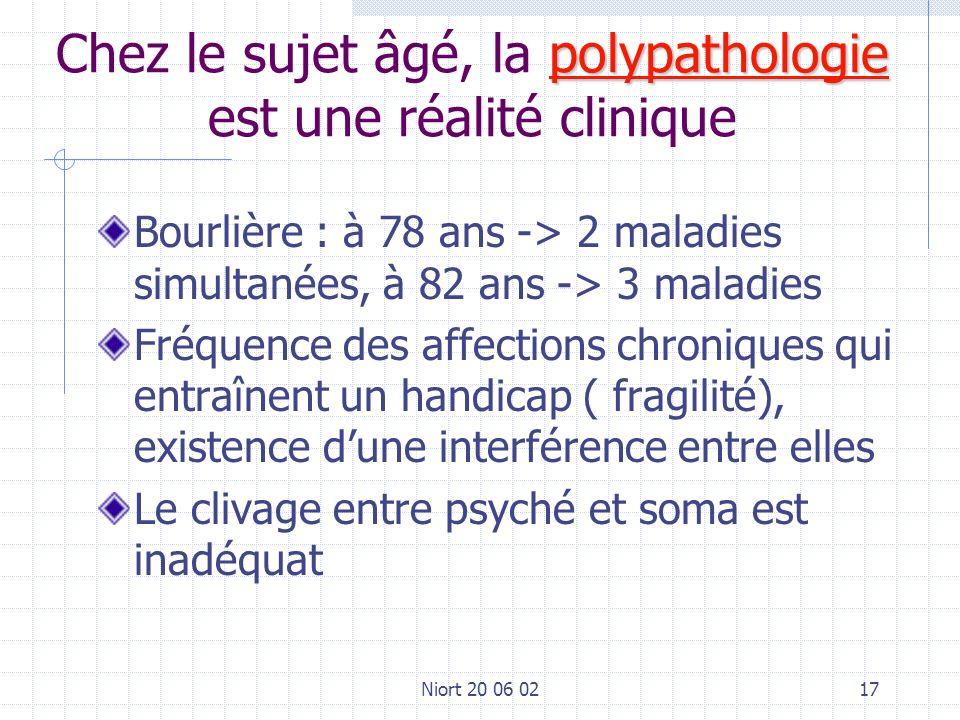 Niort 20 06 0217 polypathologie Chez le sujet âgé, la polypathologie est une réalité clinique Bourlière : à 78 ans -> 2 maladies simultanées, à 82 ans -> 3 maladies Fréquence des affections chroniques qui entraînent un handicap ( fragilité), existence dune interférence entre elles Le clivage entre psyché et soma est inadéquat