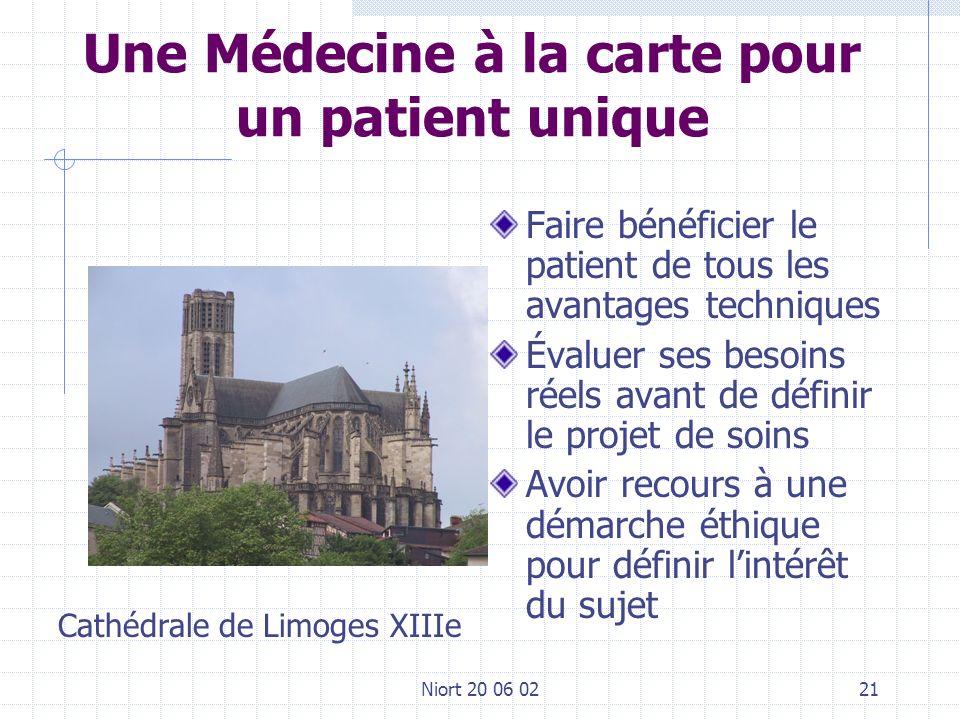 Niort 20 06 0221 Une Médecine à la carte pour un patient unique Faire bénéficier le patient de tous les avantages techniques Évaluer ses besoins réels