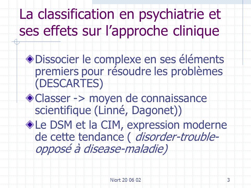 Niort 20 06 023 La classification en psychiatrie et ses effets sur lapproche clinique Dissocier le complexe en ses éléments premiers pour résoudre les