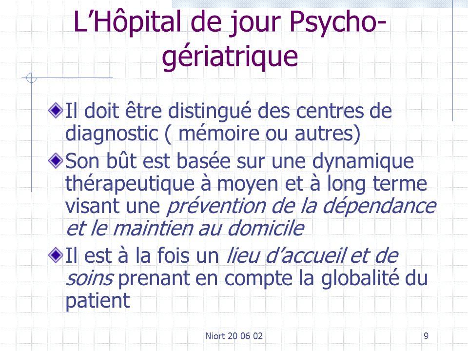 Niort 20 06 029 LHôpital de jour Psycho- gériatrique Il doit être distingué des centres de diagnostic ( mémoire ou autres) Son bût est basée sur une d
