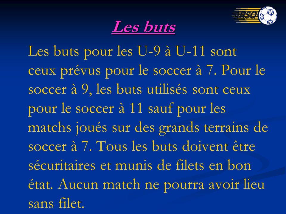 Les buts Les buts pour les U-9 à U-11 sont ceux prévus pour le soccer à 7. Pour le soccer à 9, les buts utilisés sont ceux pour le soccer à 11 sauf po