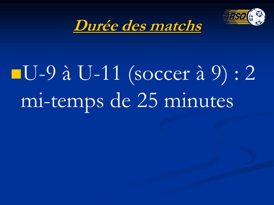 Durée des matchs U-9 à U-11 (soccer à 9) : 2 mi-temps de 25 minutes
