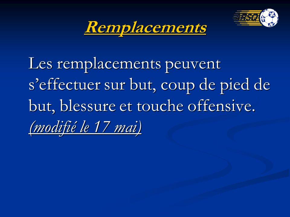Remplacements Les remplacements peuvent seffectuer sur but, coup de pied de but, blessure et touche offensive. (modifié le 17 mai)