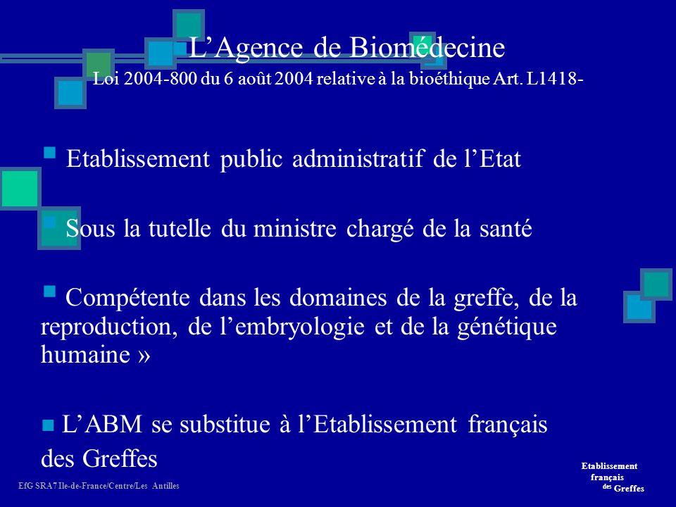 Etablissement français des Greffes EfG SRA7 Ile-de-France/Centre/Les Antilles LAgence de Biomédecine Loi 2004-800 du 6 août 2004 relative à la bioéthique Art.
