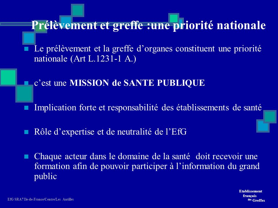 Etablissement français des Greffes EfG SRA7 Ile-de-France/Centre/Les Antilles Prélèvement et greffe :une priorité nationale Le prélèvement et la greffe dorganes constituent une priorité nationale (Art L.1231-1 A.) cest une MISSION de SANTE PUBLIQUE Implication forte et responsabilité des établissements de santé Rôle dexpertise et de neutralité de lEfG Chaque acteur dans le domaine de la santé doit recevoir une formation afin de pouvoir participer à linformation du grand public