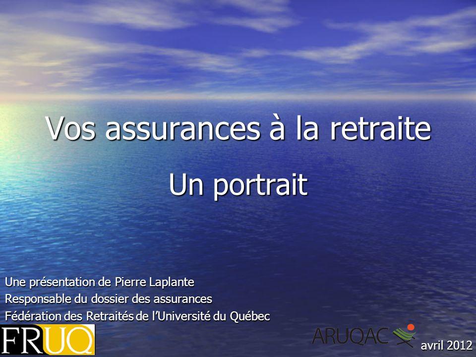 Vos assurances à la retraite Un portrait Une présentation de Pierre Laplante Responsable du dossier des assurances Fédération des Retraités de lUniversité du Québec avril 2012
