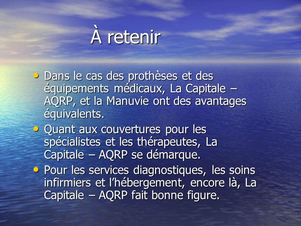 À retenir Dans le cas des prothèses et des équipements médicaux, La Capitale – AQRP, et la Manuvie ont des avantages équivalents.