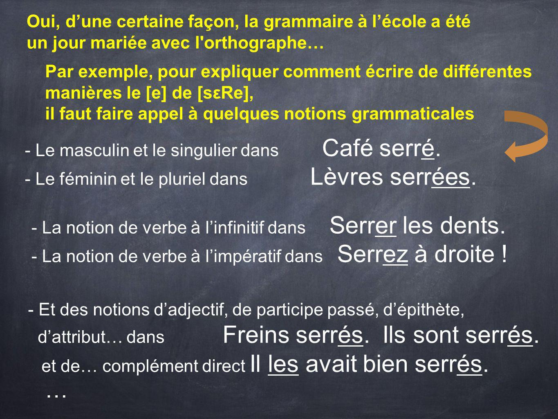 - Le masculin et le singulier dans Café serré.- Le féminin et le pluriel dans Lèvres serrées.